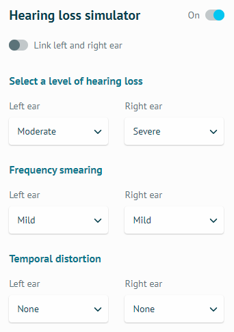 level of hearing loss 調整為左耳 Moderate、右耳 Severe,Frequency smearing 雙耳都調整為 Mild,Temporal distortion 雙耳都保持在 None